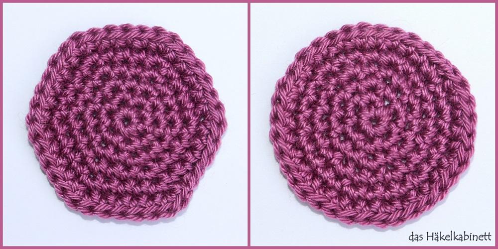 sechseckiger vs. runder Kreis gehäkelt