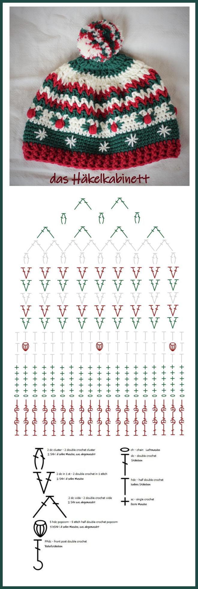 Häkelschrift Weihnachtsmütze